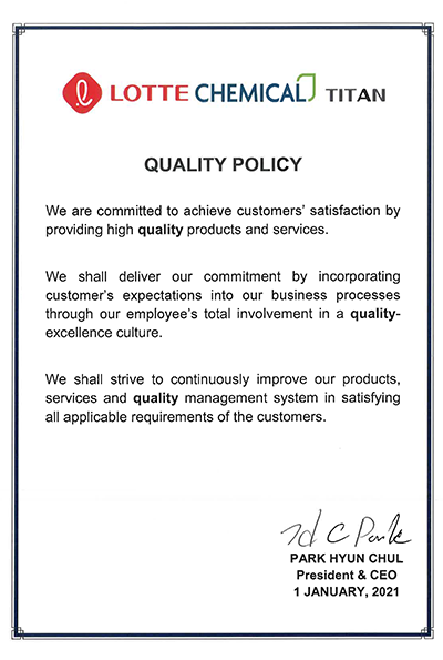 Lotte Chemical Titan Quality Policy
