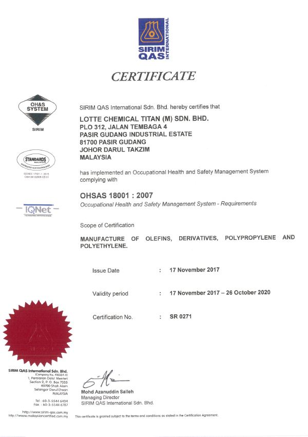 Certification Statuscertification Status Lotte Chemical Titan